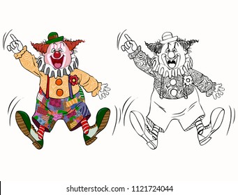 Vector illustration, coloring drawing, funny clown, cartoon concept, white background.