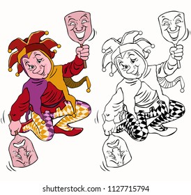 Vector illustration, coloring drawing, harlequin with masks, cartoon concept, white background.