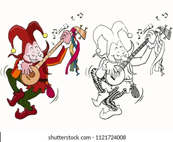 Vector illustration, coloring drawing, joker playing mandolin, cartoon concept, white background.