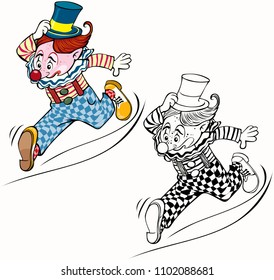 Vector illustration, coloring drawing, running clown, card concept, white background.