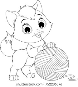 vector illustration, coloring, funny kitten playing with a ball of yarns