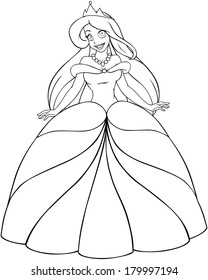 Vector illustration coloring page of a beautiful caucasian princess.