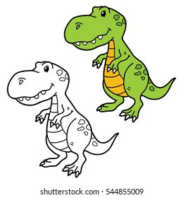 Vector illustration coloring page of happy cartoon dinosaur for children, coloring and scrap book