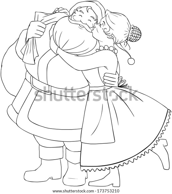Vector Illustration Coloring Page Mrs Claus Stock Vector
