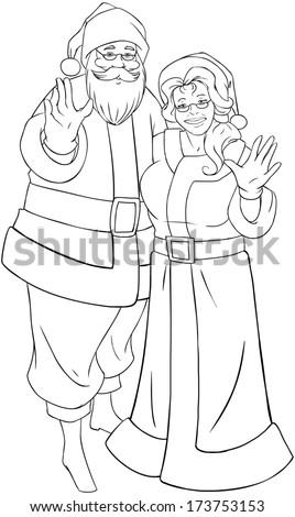 Vector Illustration Coloring Page Santa Mrs Stock Vector Royalty - Santa-and-mrs-claus-coloring-pages