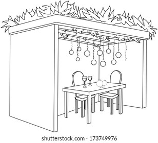 A Vector illustration coloring page of a Sukkah decorated with ornaments and a table with glasses of wine and fruits for the Jewish Holiday Sukkot.