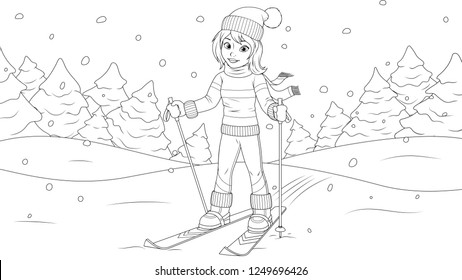 Vector illustration coloring page, young girl skiing, happy holidays.