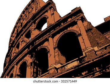 Vector illustration of Colosseum (Coliseum) in Rome, Italy. The Colosseum is an important monument of antiquity