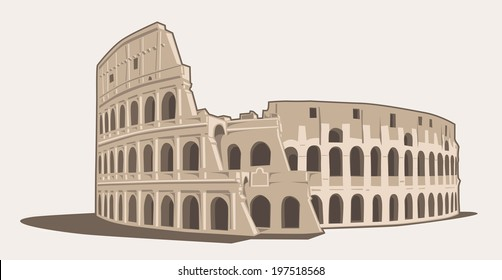 Vector Illustration of the Colosseum in Rome