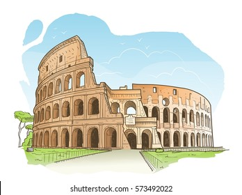 Vector illustration of the Colosseum in Rome in hand drawn sketch style