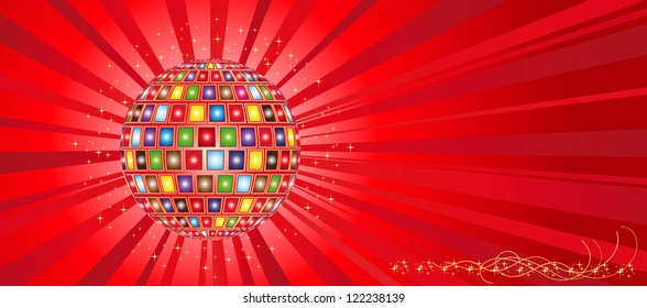 Vector Illustration colour ball and rays