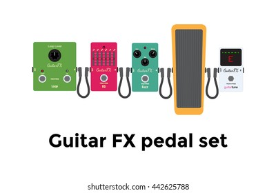Vector illustration of  colour guitar fx equipments: tuner, wah, jack cable, fuzz, equalizer, looper, fx pedal on white background