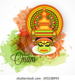 vector illustration of a colourful Kathakali face with heavy crown decorated with pearls and stone on grungy colorful background for Onam celebration.