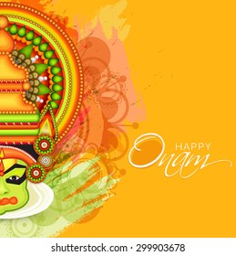 vector illustration of a colourful Kathakali face with heavy crown decorated with pearls and stone on grungy colourful background for Onam celebration.