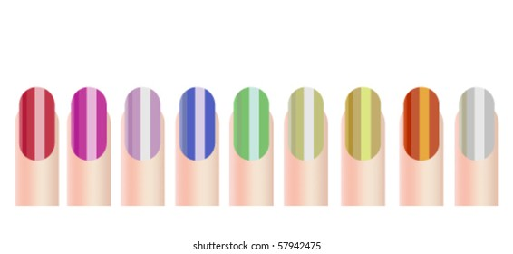 Vector illustration of colourful nails