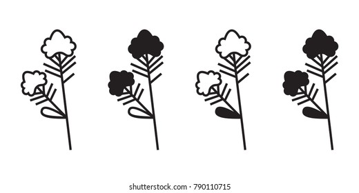 Vector illustration of colza plant with flower isolated on white background. Icon set.