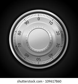 Vector illustration of combination lock wheel dark background