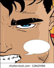Vector illustration of a comic book character with speech bubble