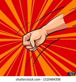 Vector illustration. Comic book pop art. Concept of fight, outline art. Fisting hand gesture