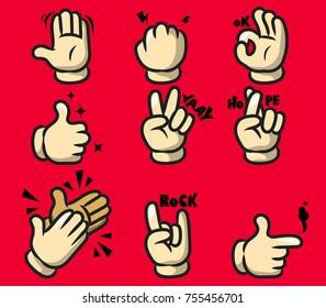 Vector illustration of comic cartoon hand gesture