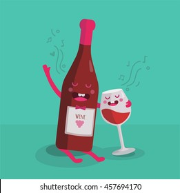 Vector illustration of comic characters bottle of wine and glass of wine. Vector funny cartoon.