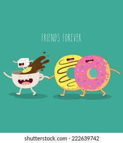 vector illustration of comic characters coffee sugar and donut friends forever