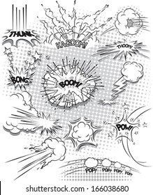 vector illustration of comic explosion bubbles in black and white