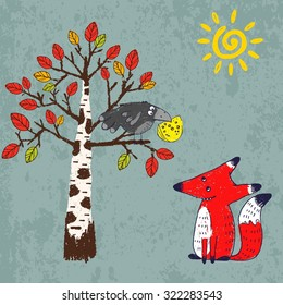 "Vector illustration in comic style for Aesop's fable ""The Fox and the Crow"". Crayon drawn cartoon picture of crafty red fox and silly black crow with a piece of cheese in its beak"