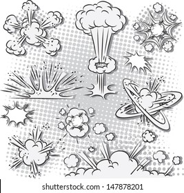 Vector illustration of comic style explosion set in black and white