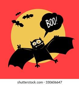 vector illustration comical bat halloween - Halloween Bat Pics