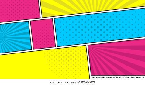 Vector illustration comics backgroung. Pop-art colors.