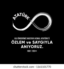 vector illustration. commemorative date November 10 death day Mustafa Kemal Ataturk ,founder of the Republic of Turkey. November 10, respect and remember.