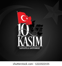 vector illustration. commemorative date November 10 death day Mustafa Kemal Ataturk
