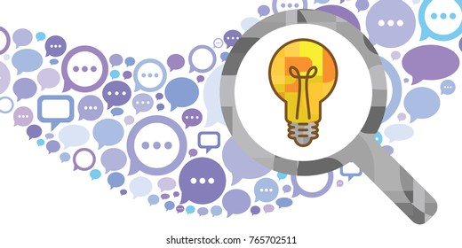 vector illustration of comments flow and yellow bright bulb for creativity process concepts