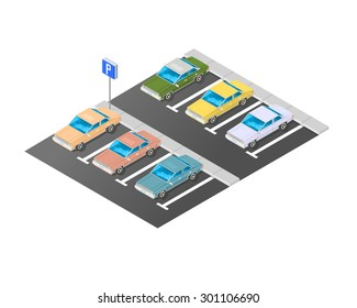 A vector illustration of a commercial parking. Isometric car park. Isometric Parking lot with parking sign.