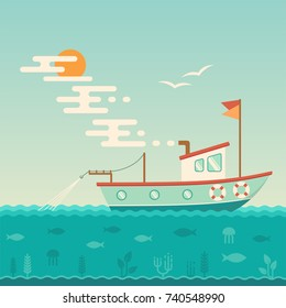 vector illustration of commercial ship, fishing boat at the sea, nautical background