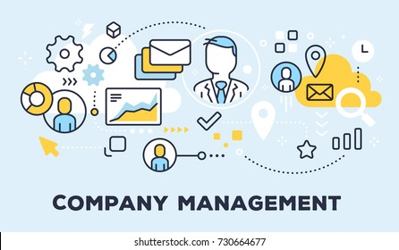 Vector illustration of communication business people, graph and icons. Company management concept on blue background with title. Thin line art flat style design for web, site, banner, presentation