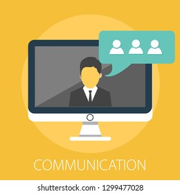 "Vector illustration of a communication concept with ""communication"" Social media Communication icon."