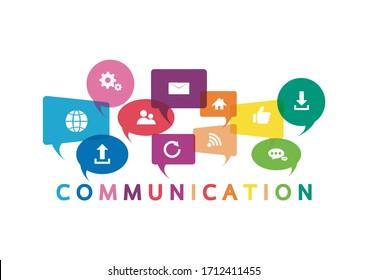 Vektorillustration Illustration eines Kommunikationskonzepts. Das Wort Kommunikation mit bunten Dialogblasen