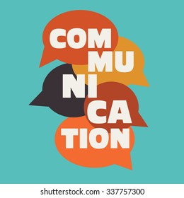 "Vector illustration of a communication concept. The word ""communication"" with colorful dialog speech bubbles"