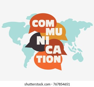 """Vector illustration of a communication concept. The word """"communication"""" with colorful dialog speech bubbles"""