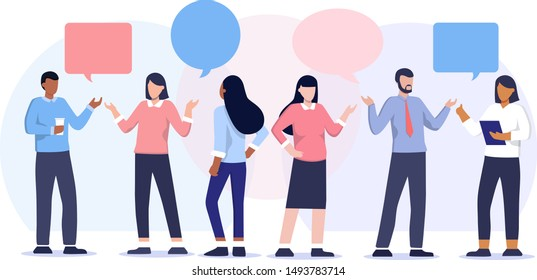 Vector illustration of communication of people in search of solutions problems, use in web-projects and applications, collective thinking. Ethnic business people group full length team, speech bubble