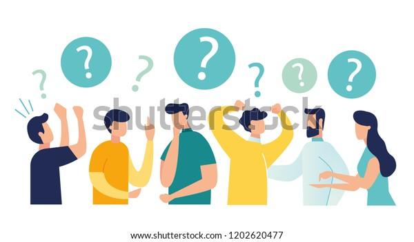 Ilustración vectorial de la comunicación de las personas en busca de soluciones a problemas, uso en proyectos y aplicaciones web, pensamiento colectivo