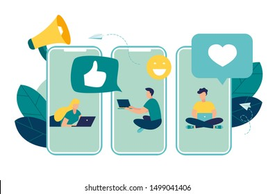 Vector illustration, communication phone, people and social networks.