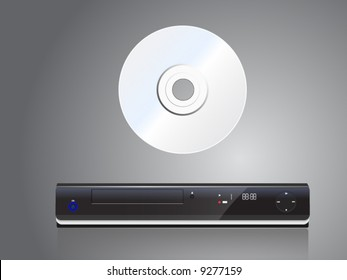 vector illustration of compact disk with player