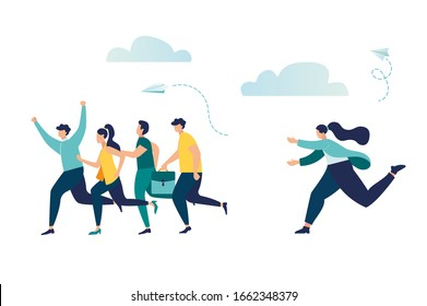 Vector illustration, a company of people competes with other business people, successfully overcomes obstacles, a lagging person catches them
