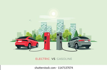 Vector illustration comparing electric versus gasoline car suv. Electric car charging at charger station vs. fossil car refueling petrol at gas station. City building skyline in the background.