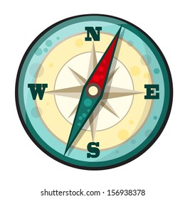 Vector illustration of compass in cartoon style