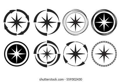 Vector illustration of compass collection in black and white.