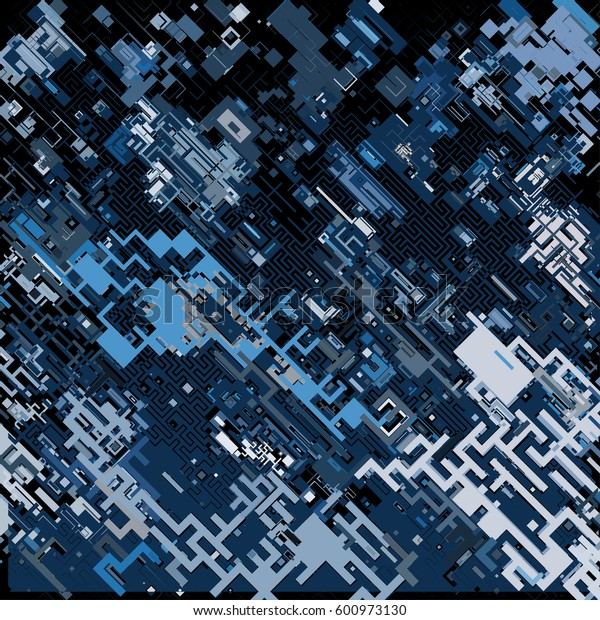 Vector illustration of a complex pixel pattern reminiscent of a maze. Abstract geometric background
